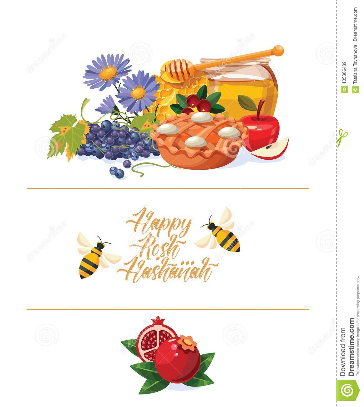 happy rosh hashanah vector greeting card with bees new year poster in modern style