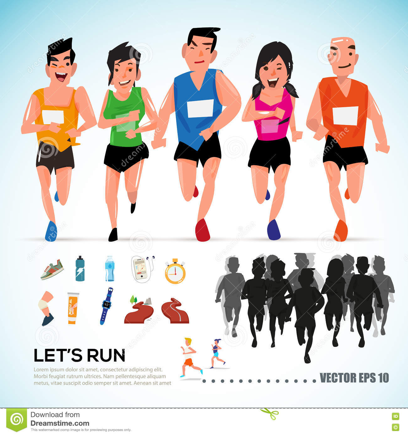 Character Design Group : Happy runner group with running kit elements and