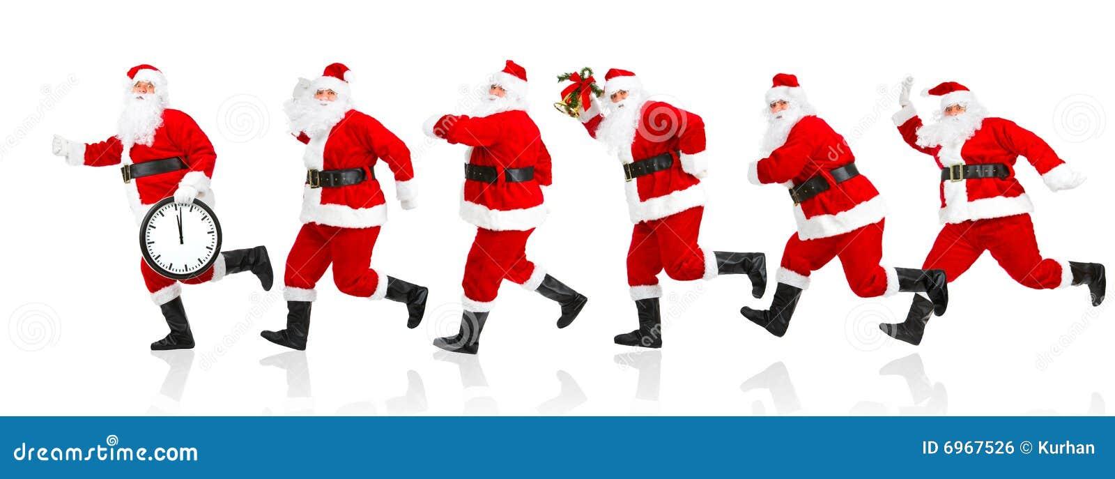 Happy Running Christmas Santas Royalty Free Stock Image - Image ...