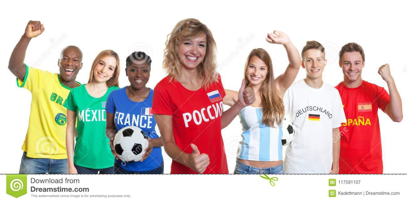 Happy russian soccer supporter with fans from other countries