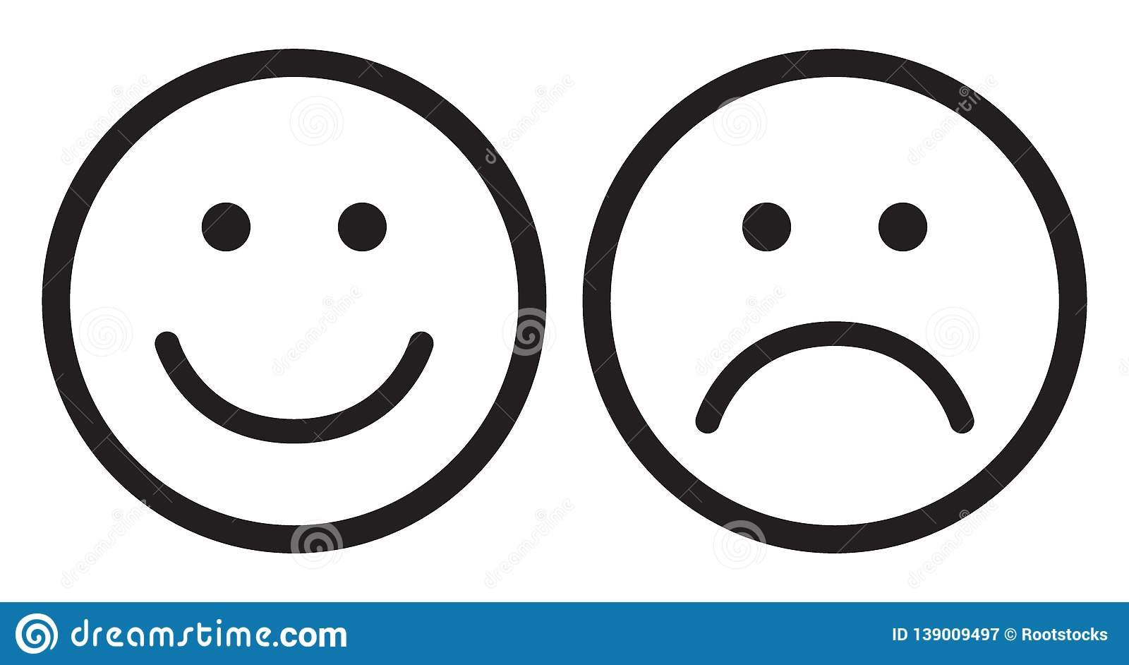 Happy and sad face icons stock illustration. Illustration ...