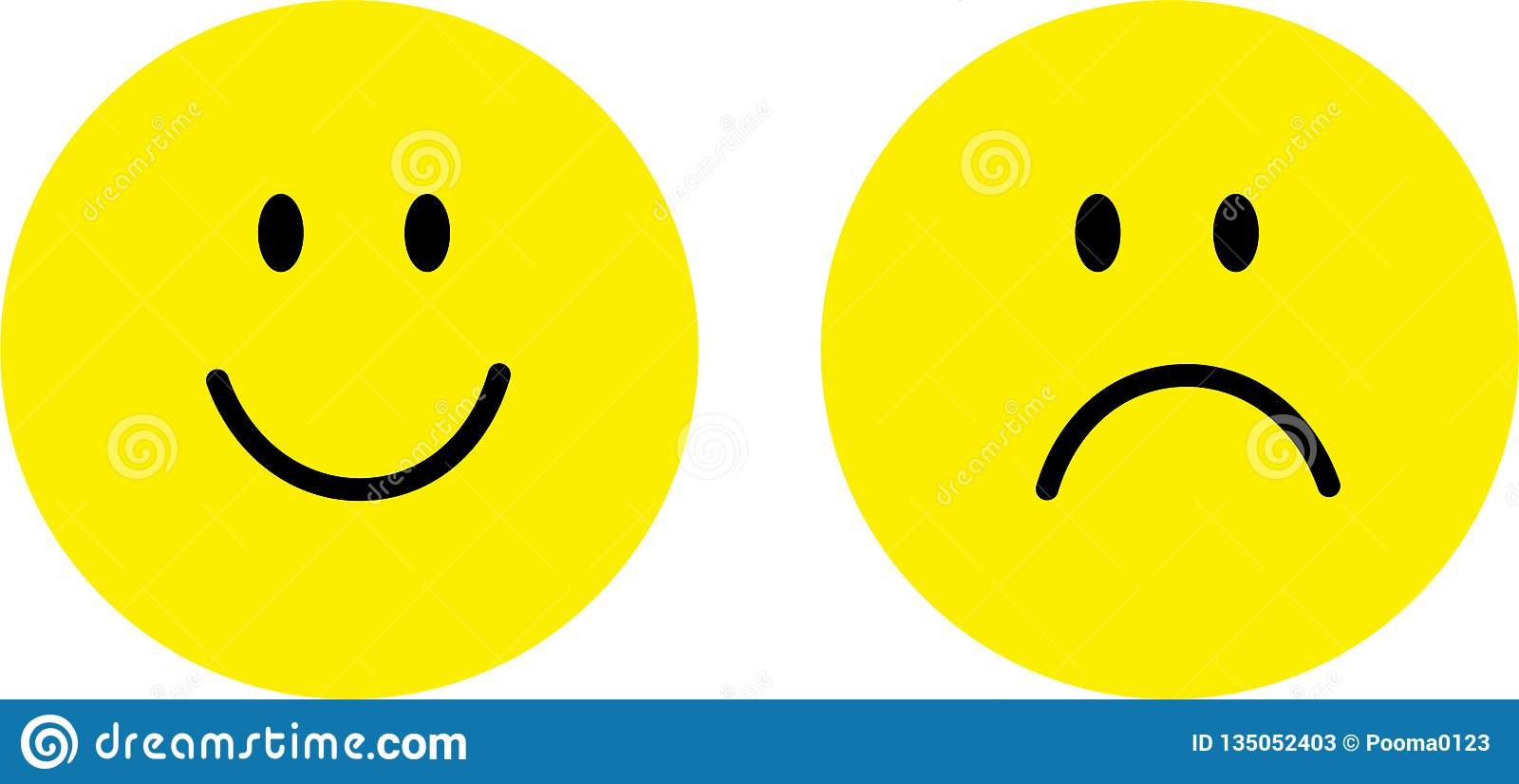 Happy and sad face