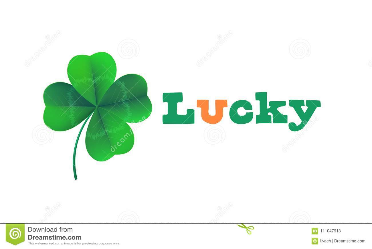 Happy Saint Patricks Day Card With Lucky Text And Shamrock Clover