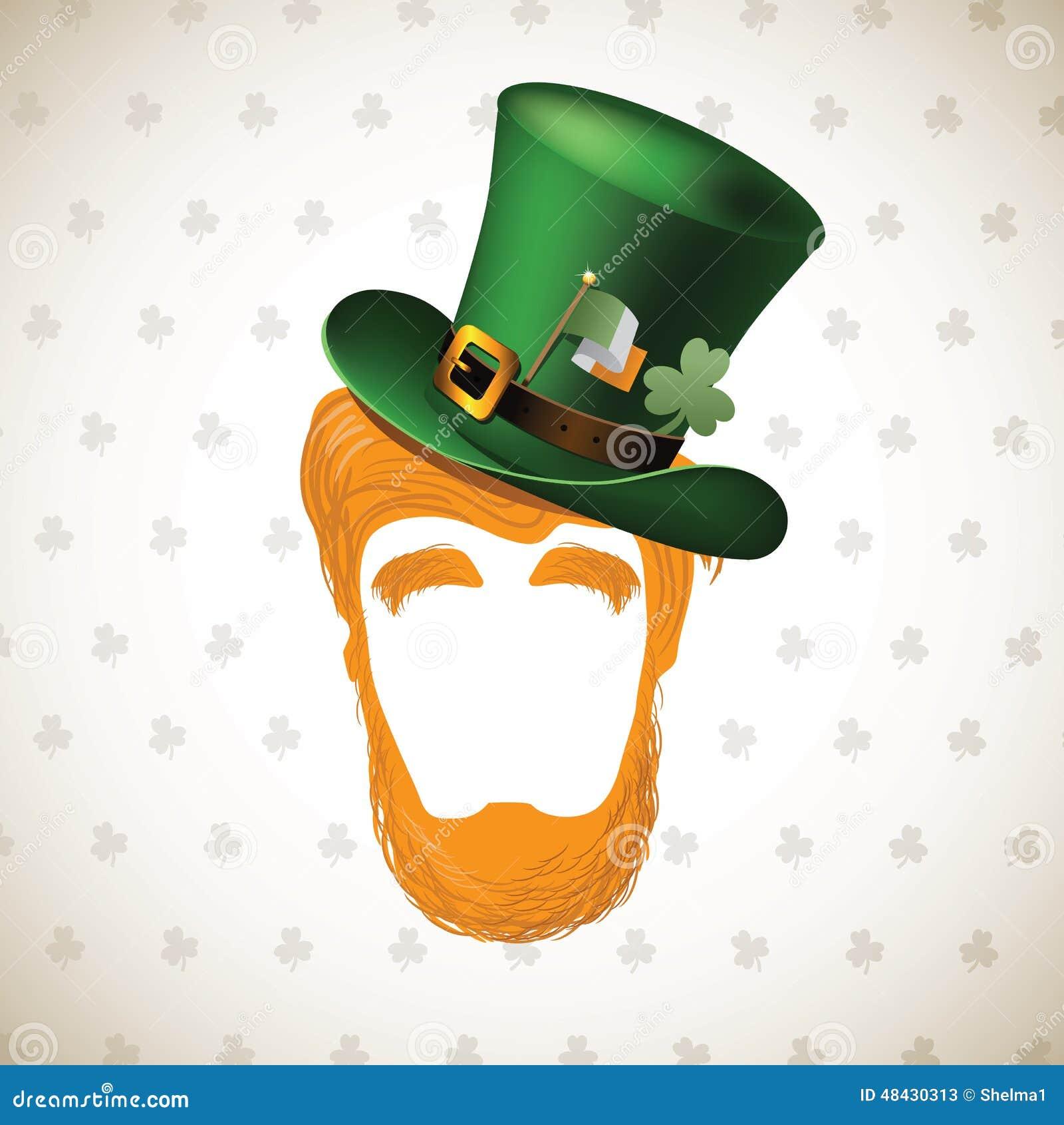 happy saint patricks day leprechaun hat and beard stock vector