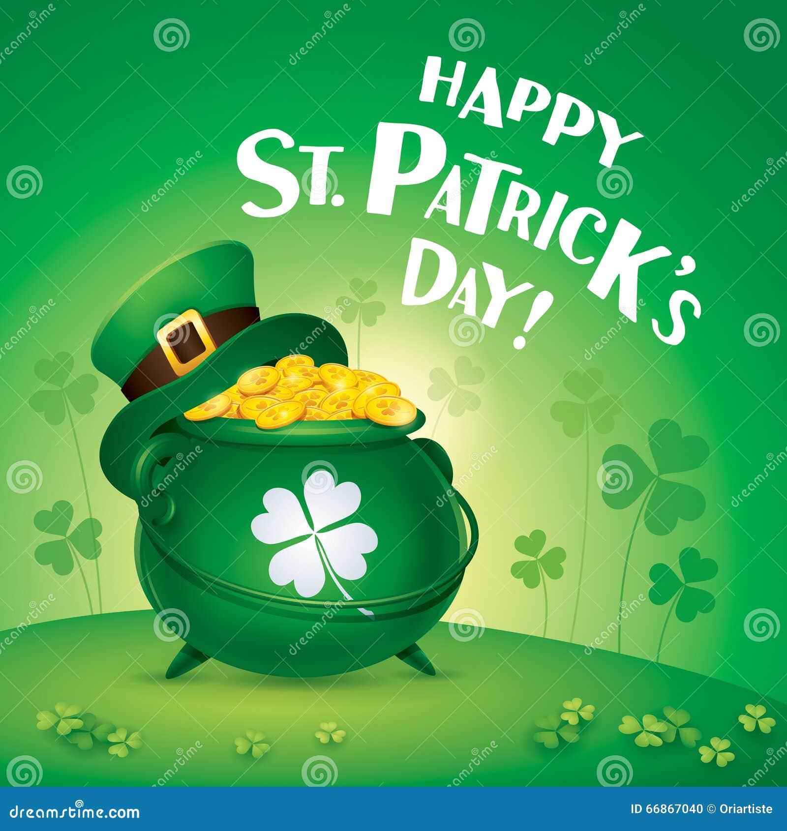 Happy Saint Patricks Day! St. Patricks Day Symbol. Pot Of ...