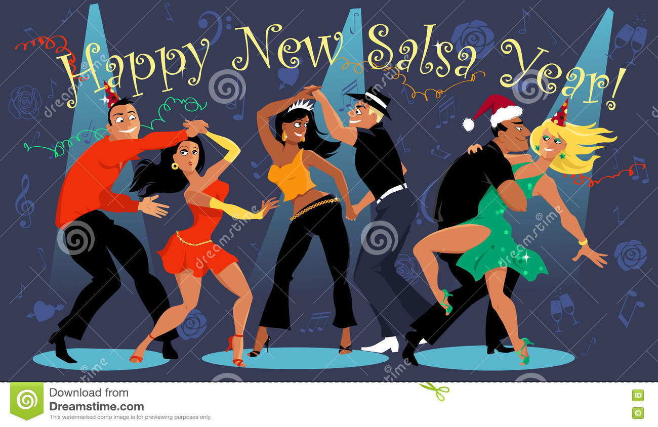 Happy Salsa New Year stock vector. Image of winter, party ...