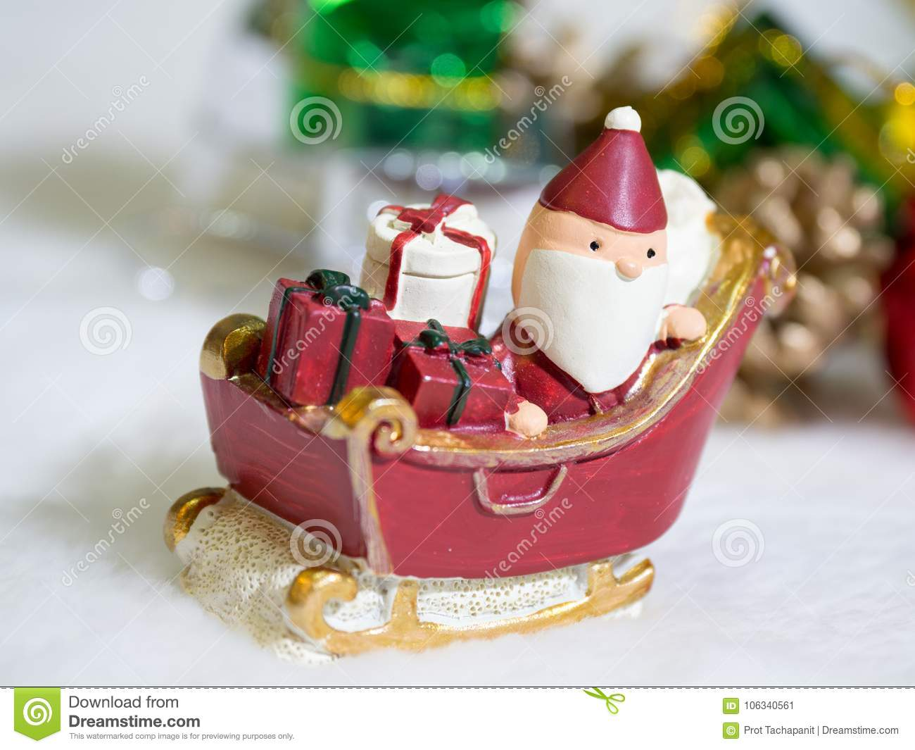 Happy Santa Claus With Gifts Box On The Snow Sled The Background Is ...