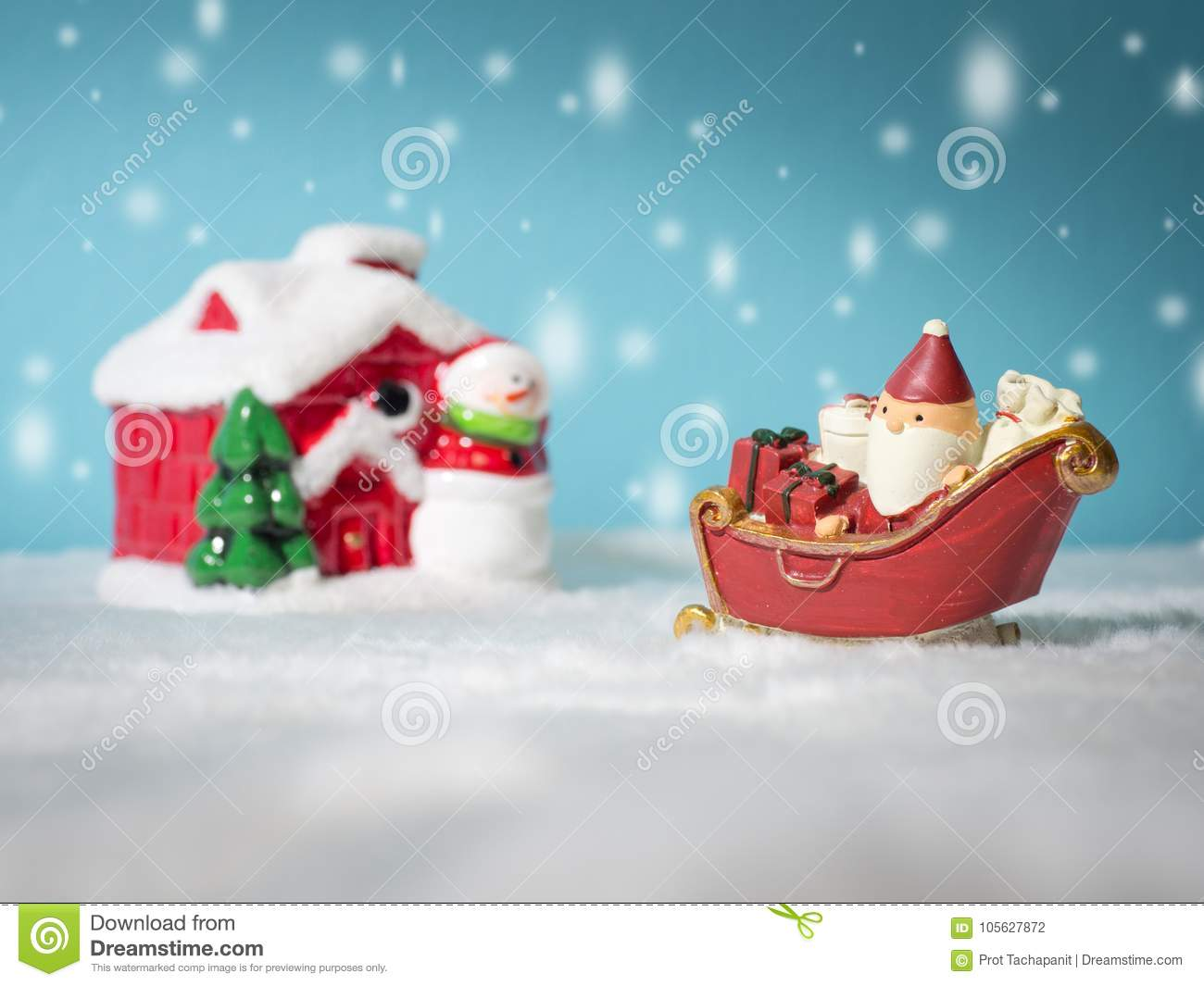 Happy Santa Claus With Gifts Box On The Snow Sled Going To Snow ...