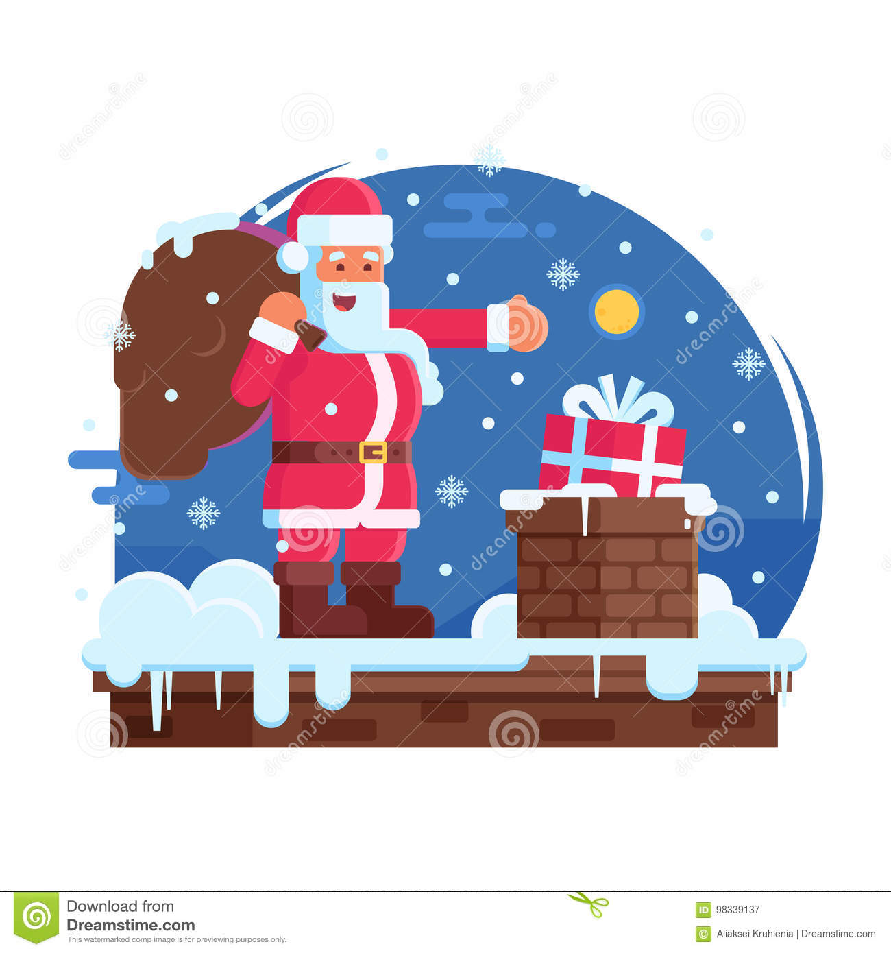101d333e Happy Santa Claus with bag putting gift box in a chimney. Merry Christmas  scene with cartoon Santa standing on house top with gift under snowfall.