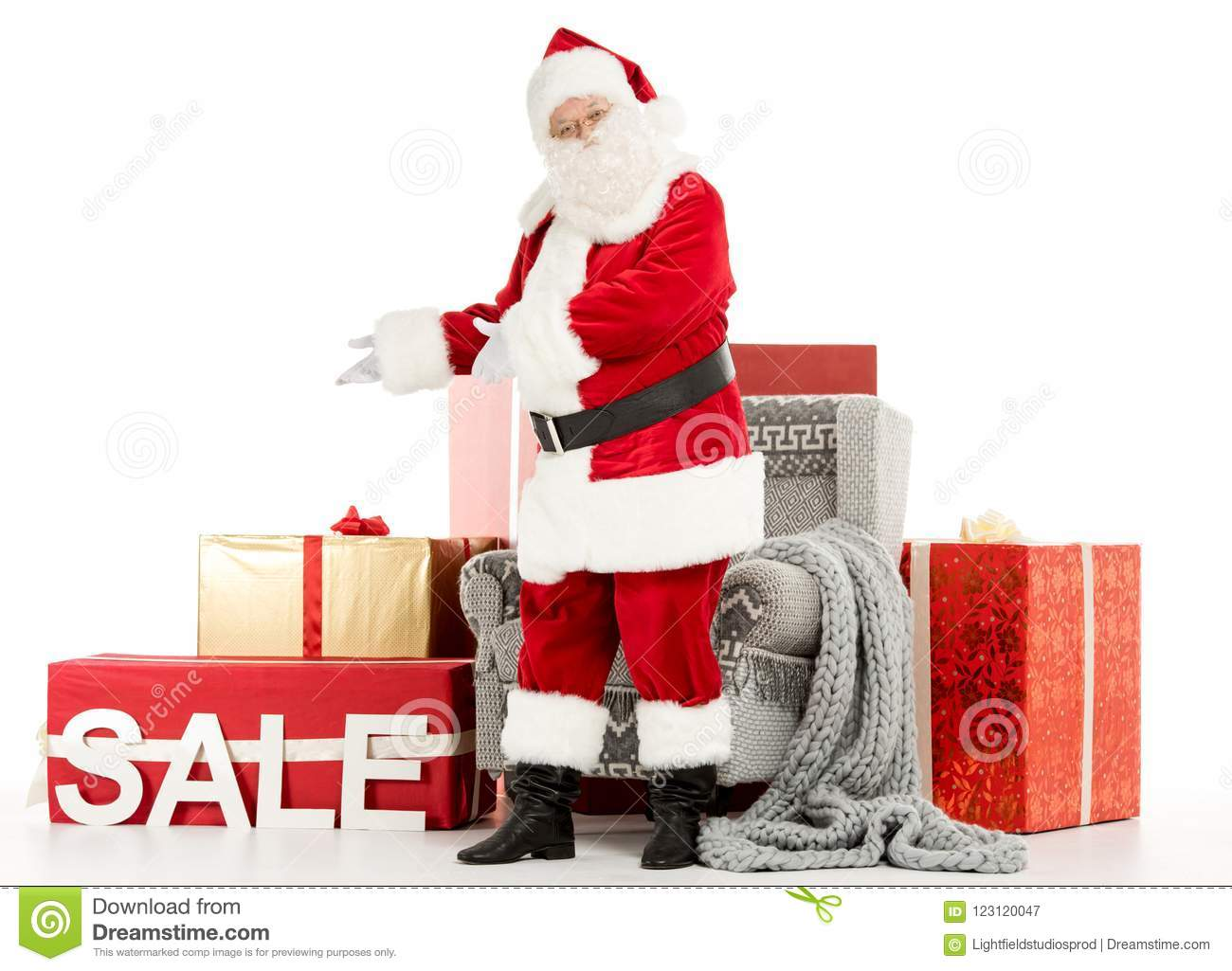 Happy Santa Claus With Sale Sign Stock Image - Image of winter, sign ...