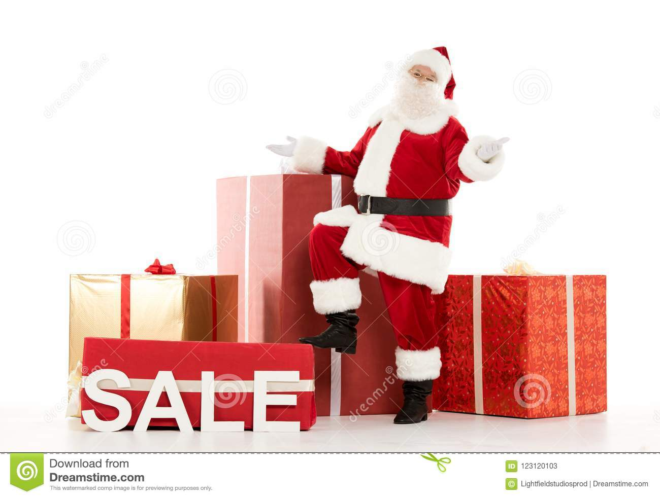 Happy Santa Claus With Sale Sign Stock Image - Image of celebrate ...
