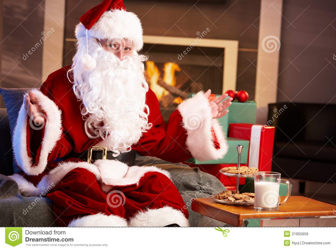 Happy Santa With Milk And Chocolate Chip Cookies Stock Image Image