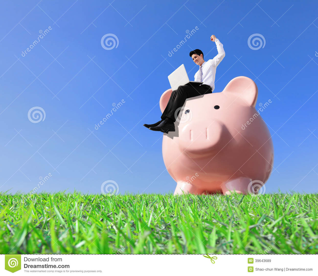 Happy saving money stock photo image 39643689 for How to make a piggy bank you can t open