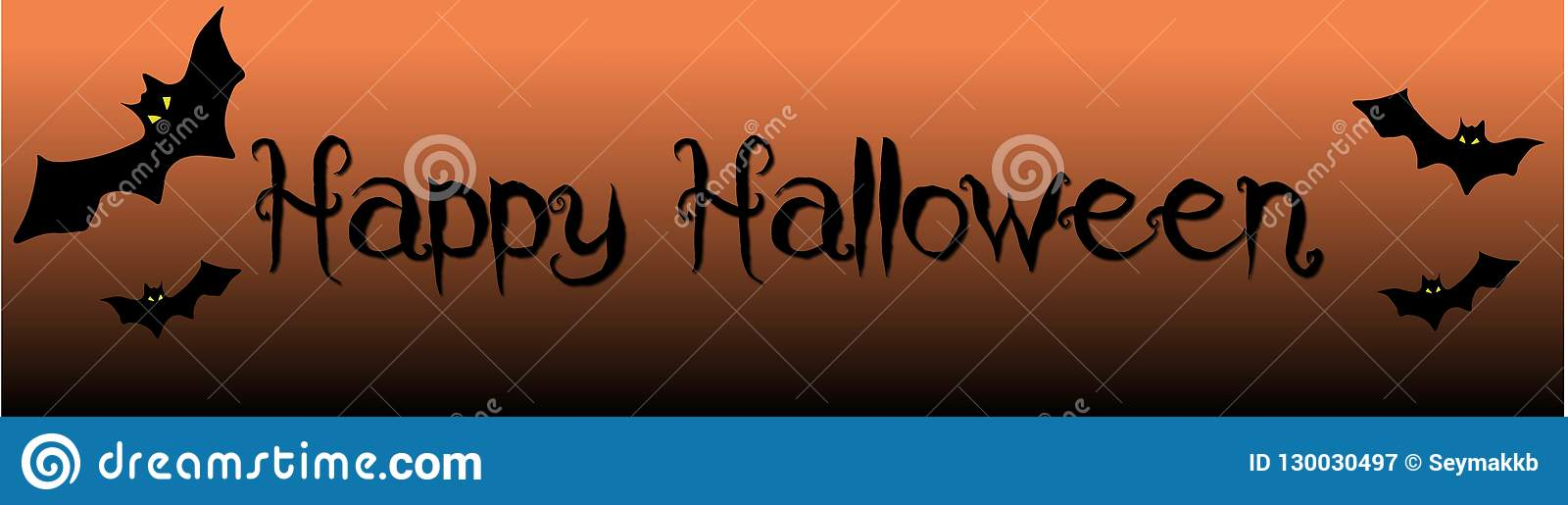 Happy Scary Halloween Banner With Bats
