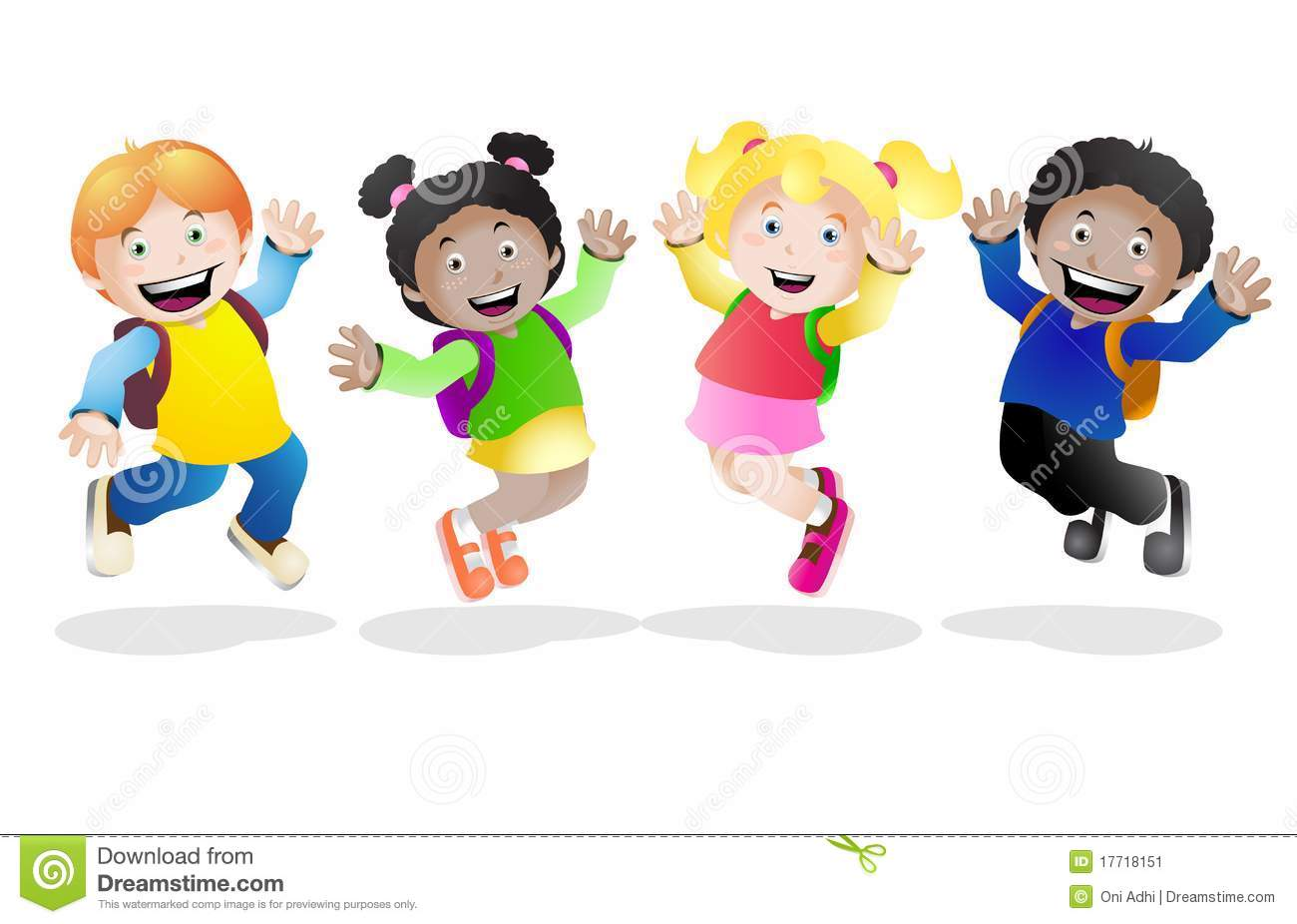 Happy School Stock Illustration. Illustration Of Friends