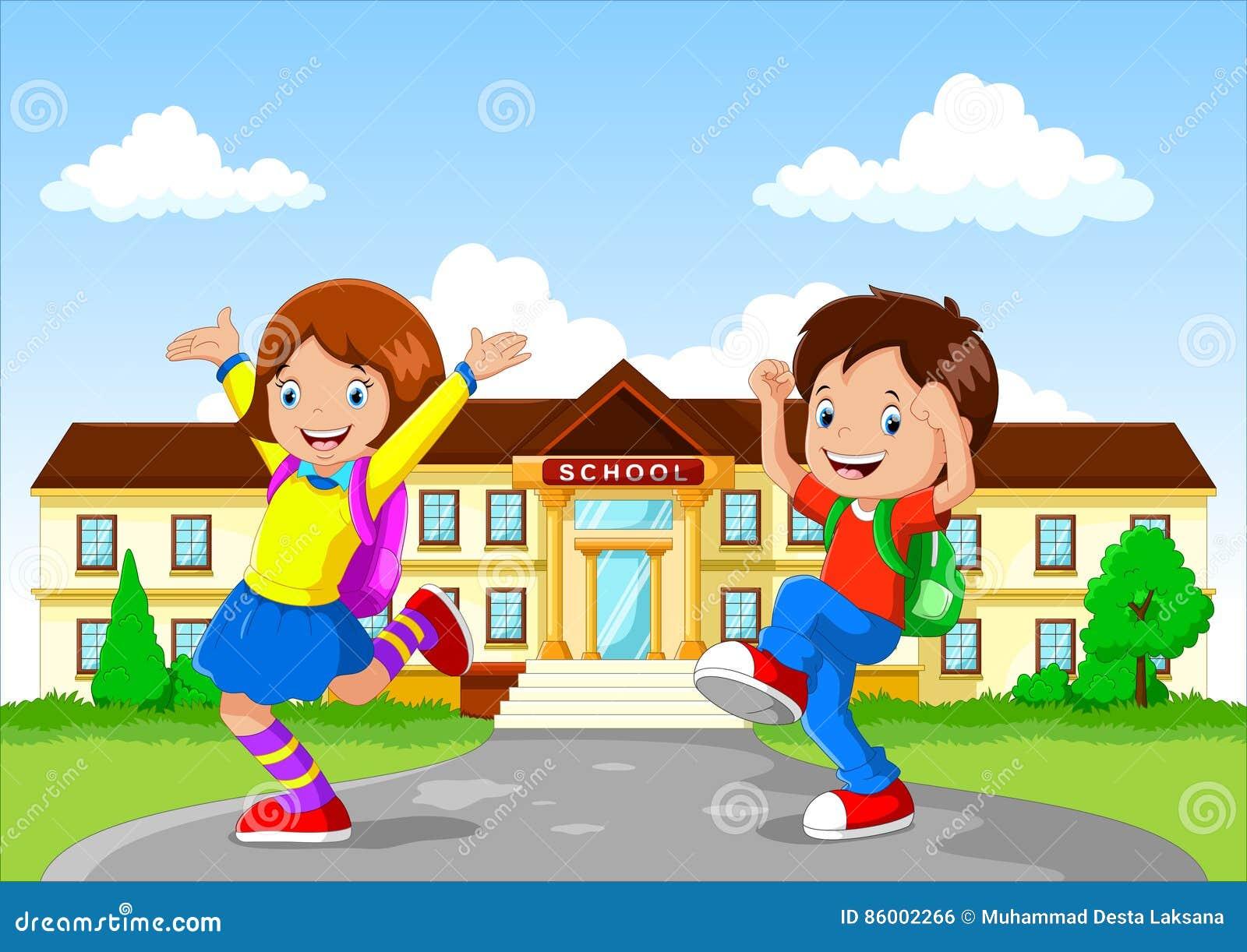 Happy School Children With Backpack On School Building ...