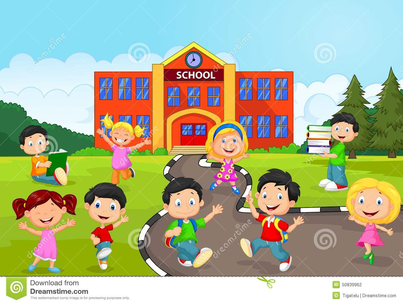 Happy school children cartoon in front of school stock for Aprendemos jugando jardin infantil