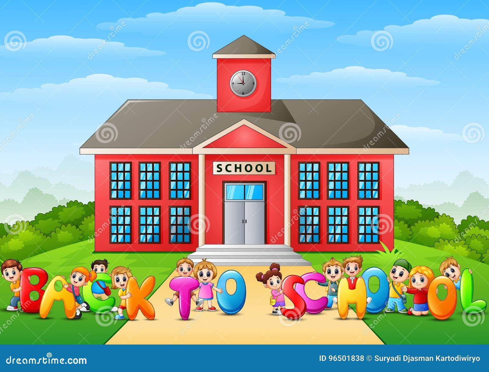 Happy School Children Cartoon In Front Of School Vector ...