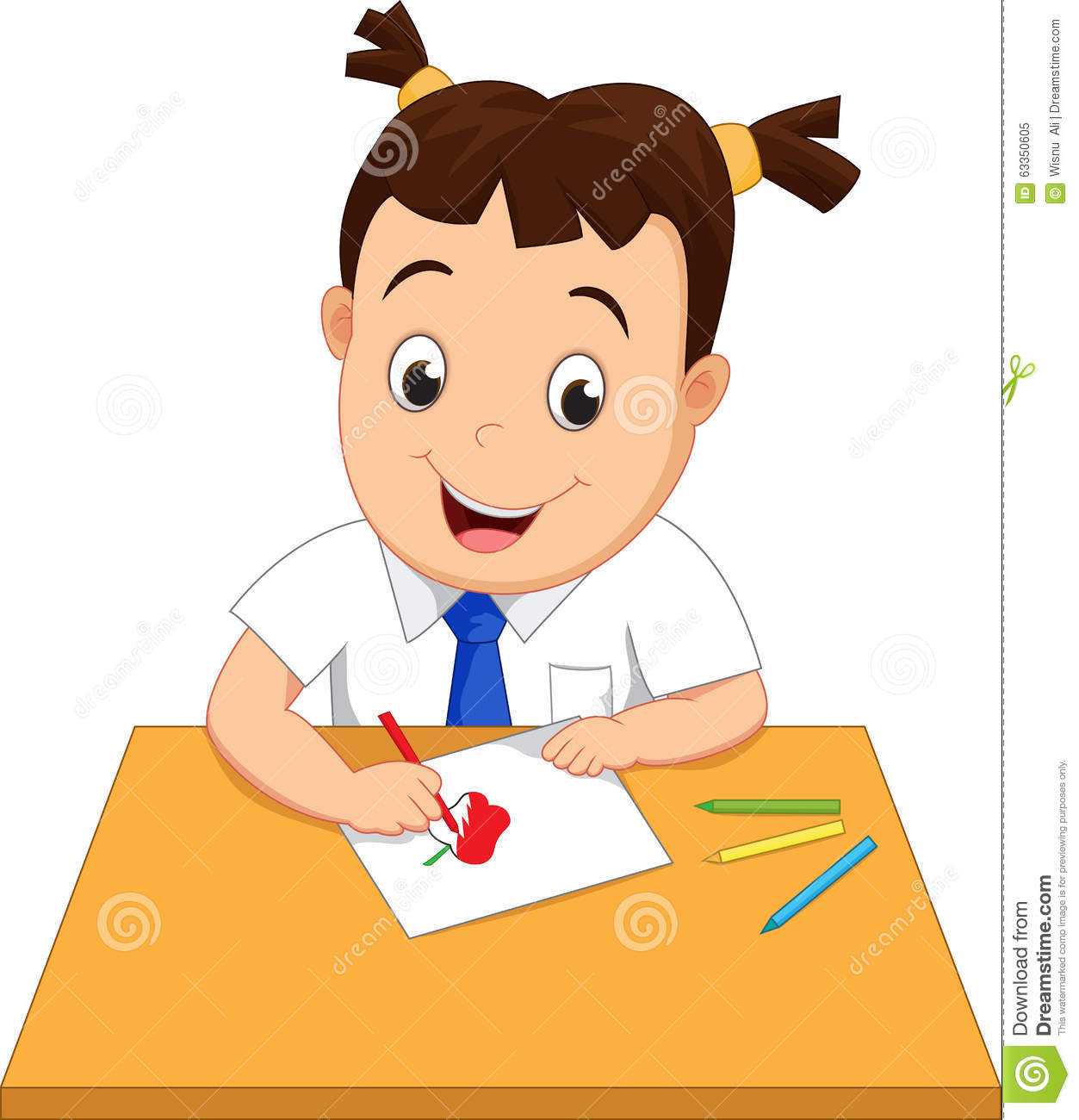 Happy School Girl Making A Drawing On A Paper Stock Vector - Image ...