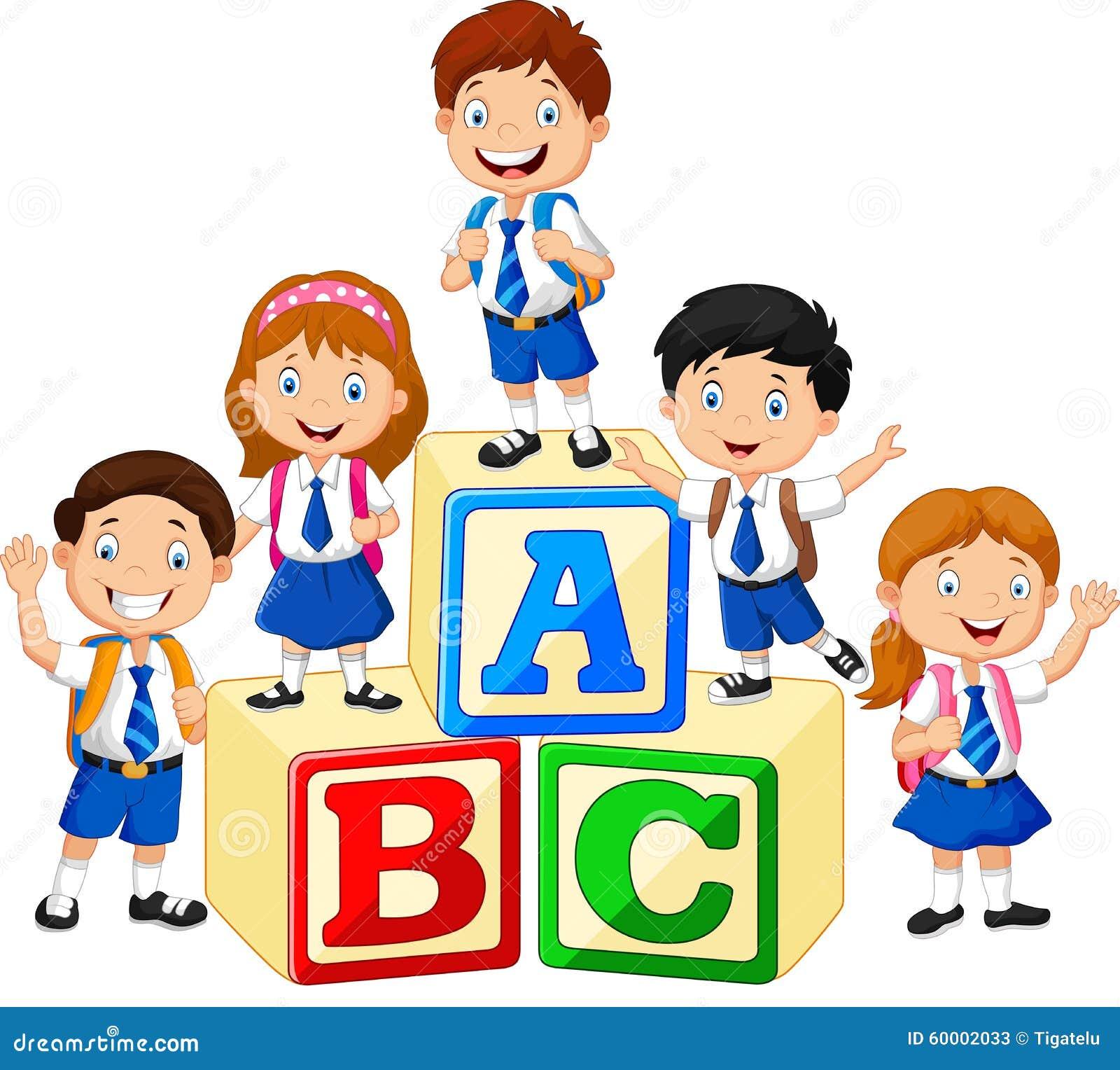 Stock Illustration Happy School Kids Alphabet Blocks Illustration Image60002033 on Kindergarten Math Review
