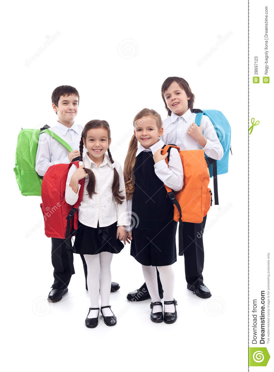 Happy School Kids With Colorful Bags Stock Photos - Image ...