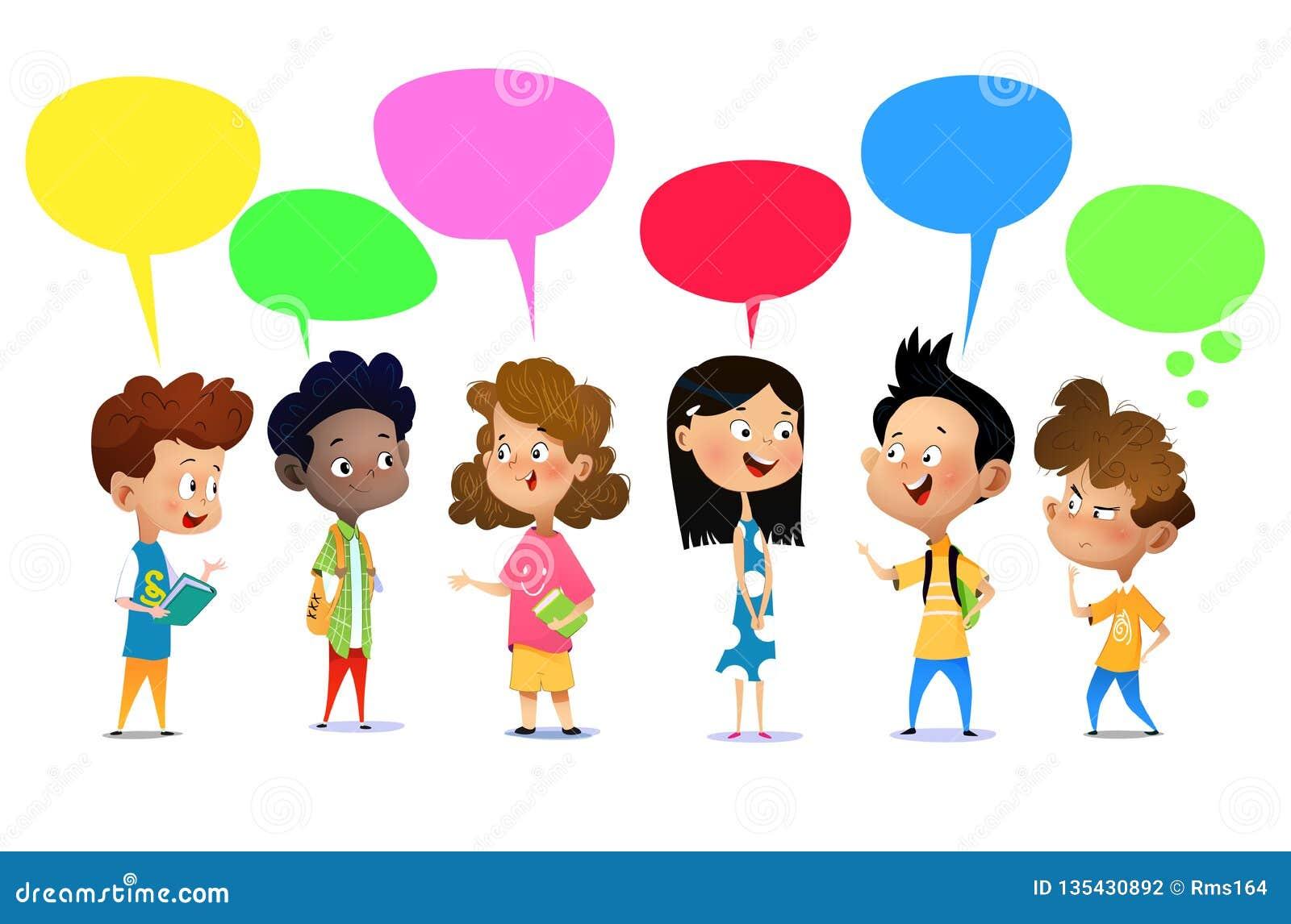 Happy kids talking stock vector. Illustration of media ...