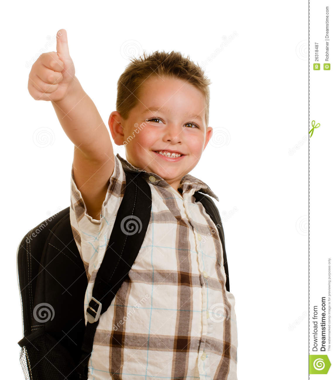 Happy Schoolboy Wearing Backpack Giving Thumbs Up Stock ...