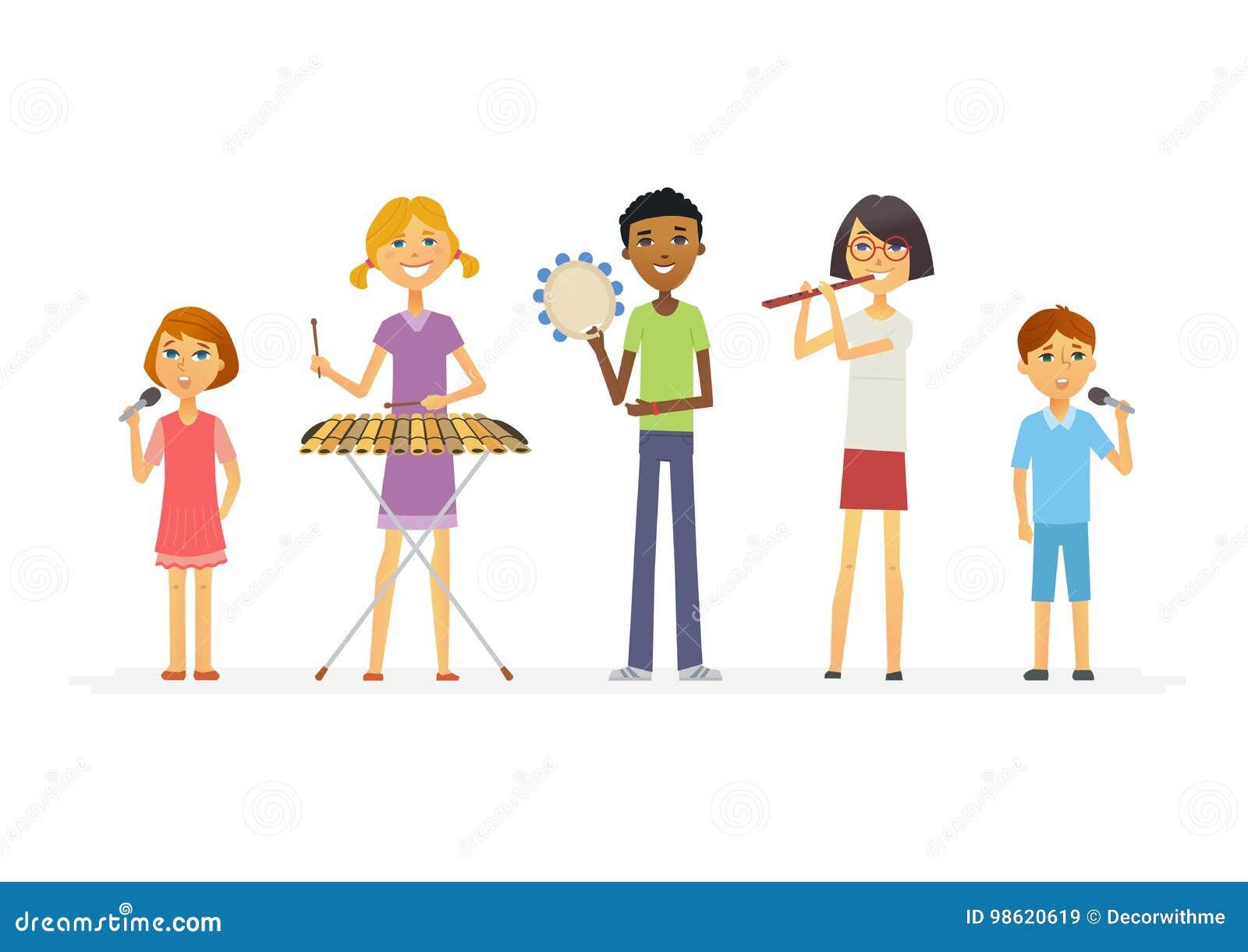 Happy Schoolchildren Playing Music - Cartoon People Characters