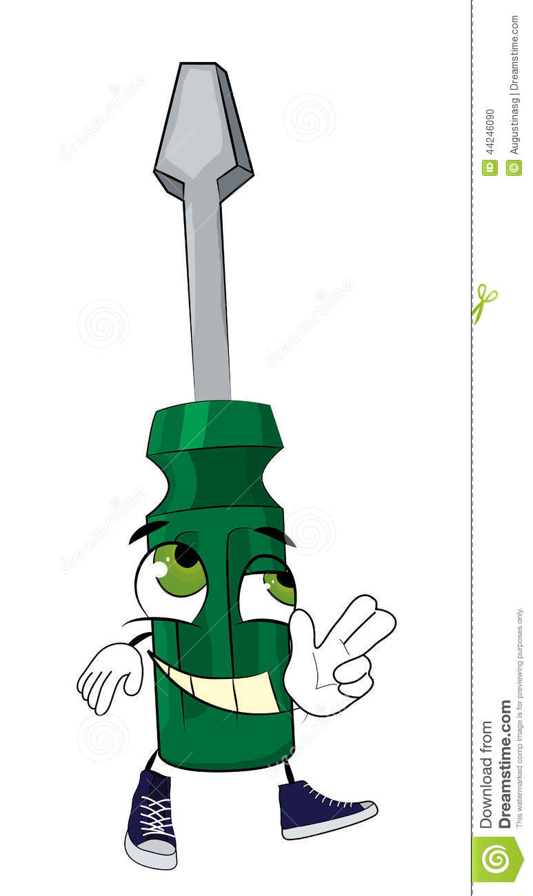 Happy Screwdriver Cartoon Stock Illustration - Image: 44246090