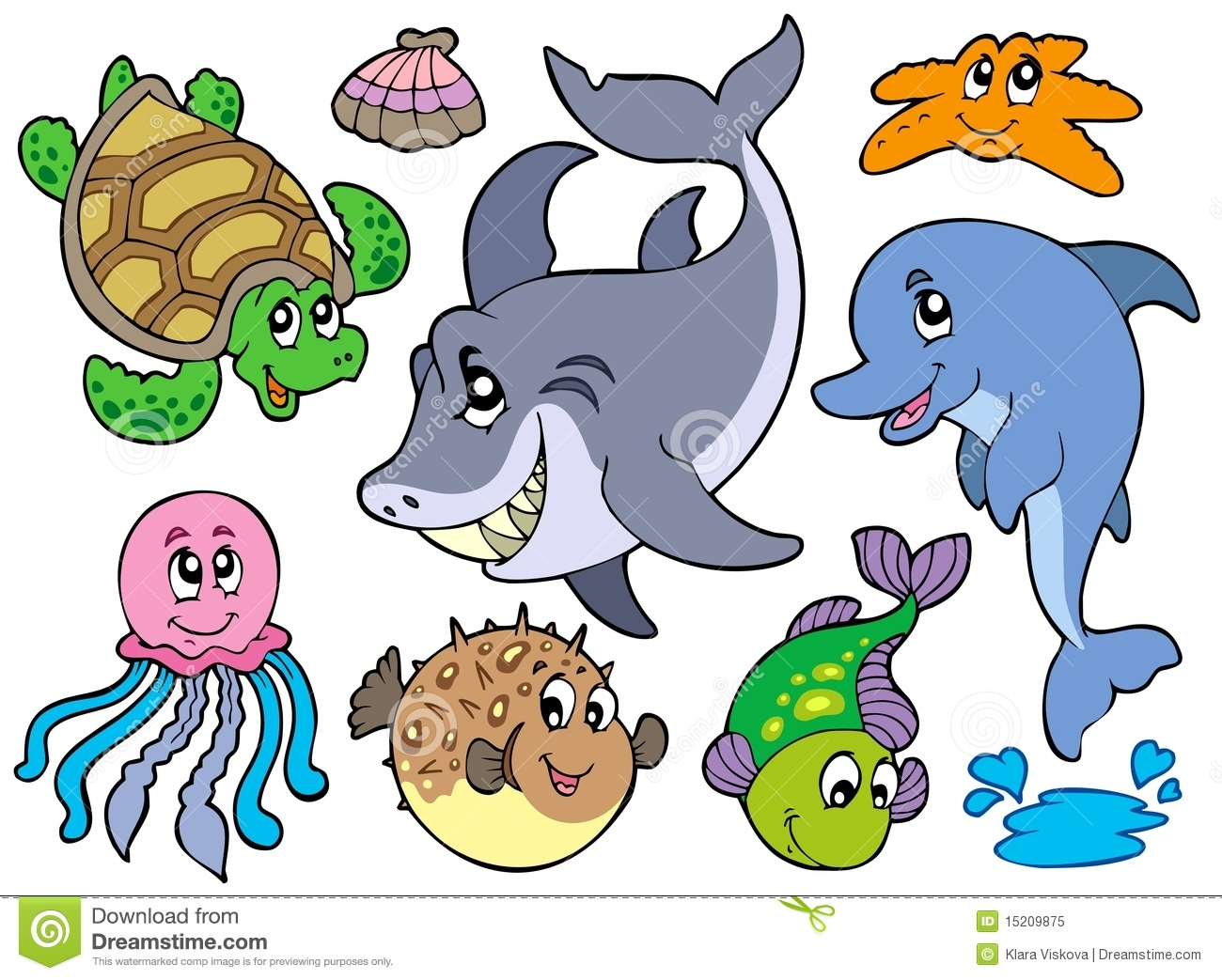 Happy Sea Animals Collection Royalty Free Stock Photo