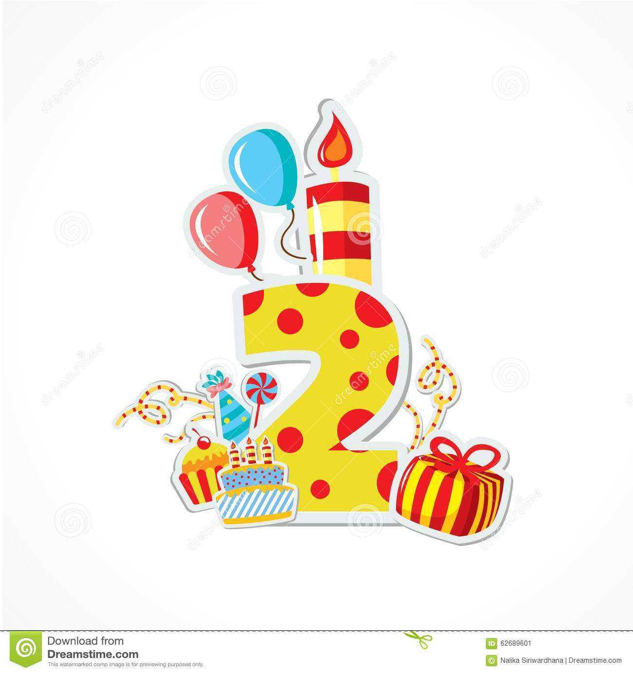 Happy Second Birthday Anniversary Stock Vector - Image: 62689601