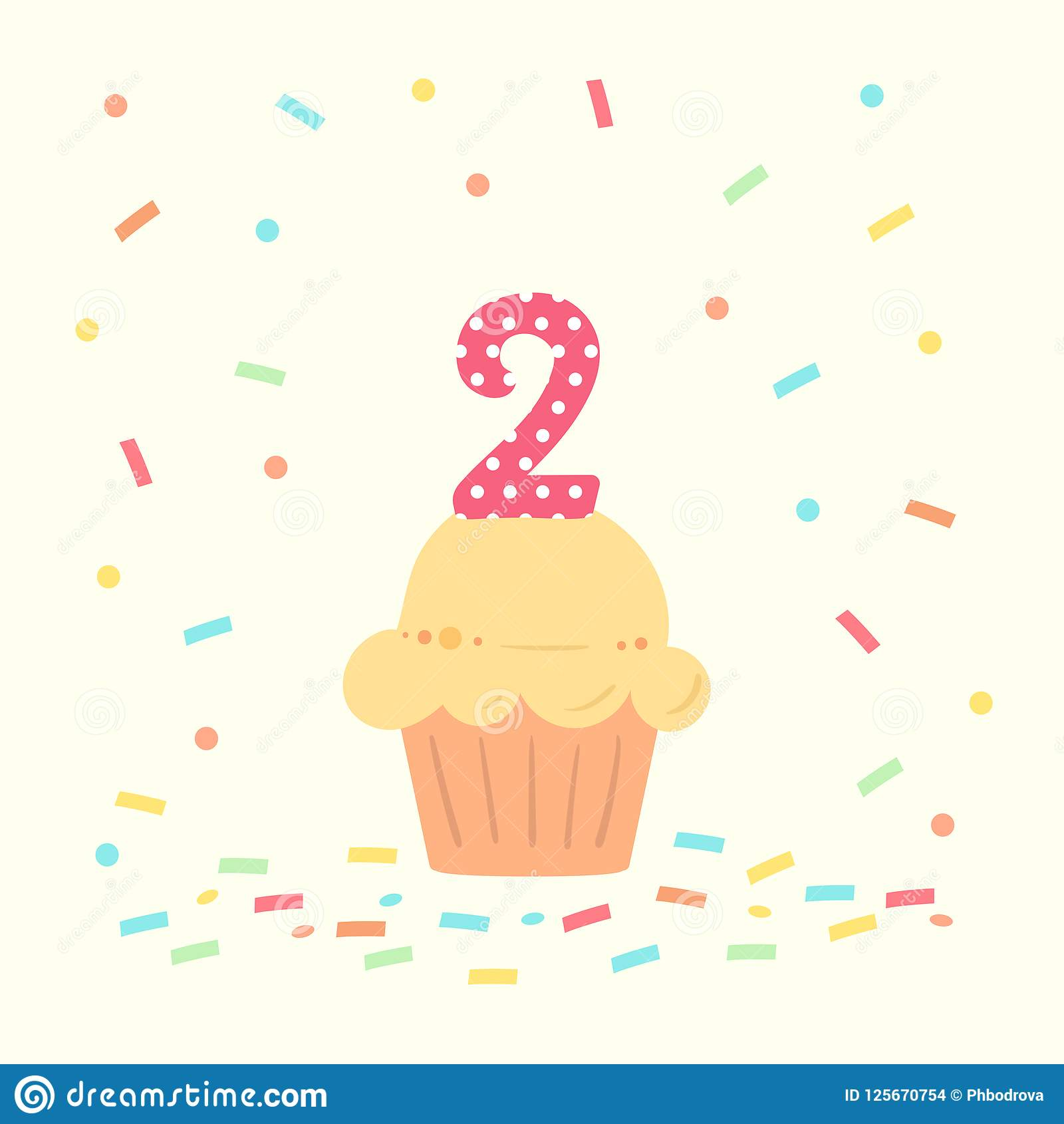 Happy Second Birthday Card With Cupcake And Number Two In