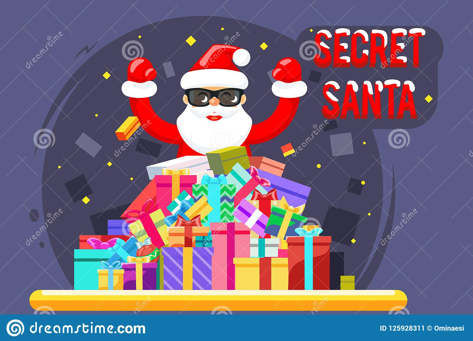Happy Secret Santa Claus Shopping Pile Goods Christmas Gifts Boxes ...