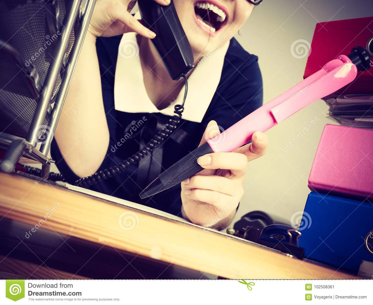 Happy Secretary Business Woman In Office Stock Image Image Of