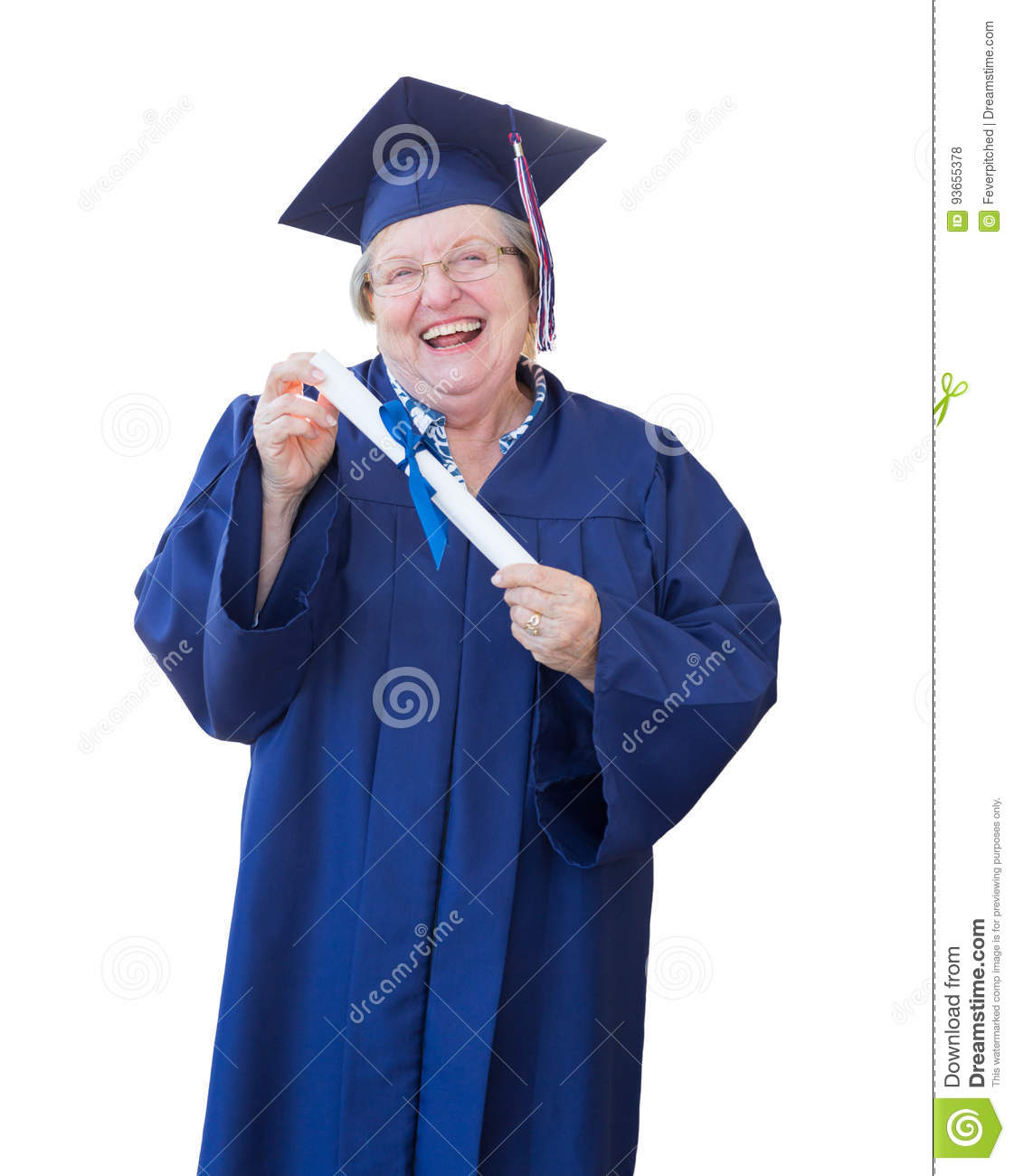 Happy Senior Adult Woman Graduate In Cap And Gown Holding Diplom ...