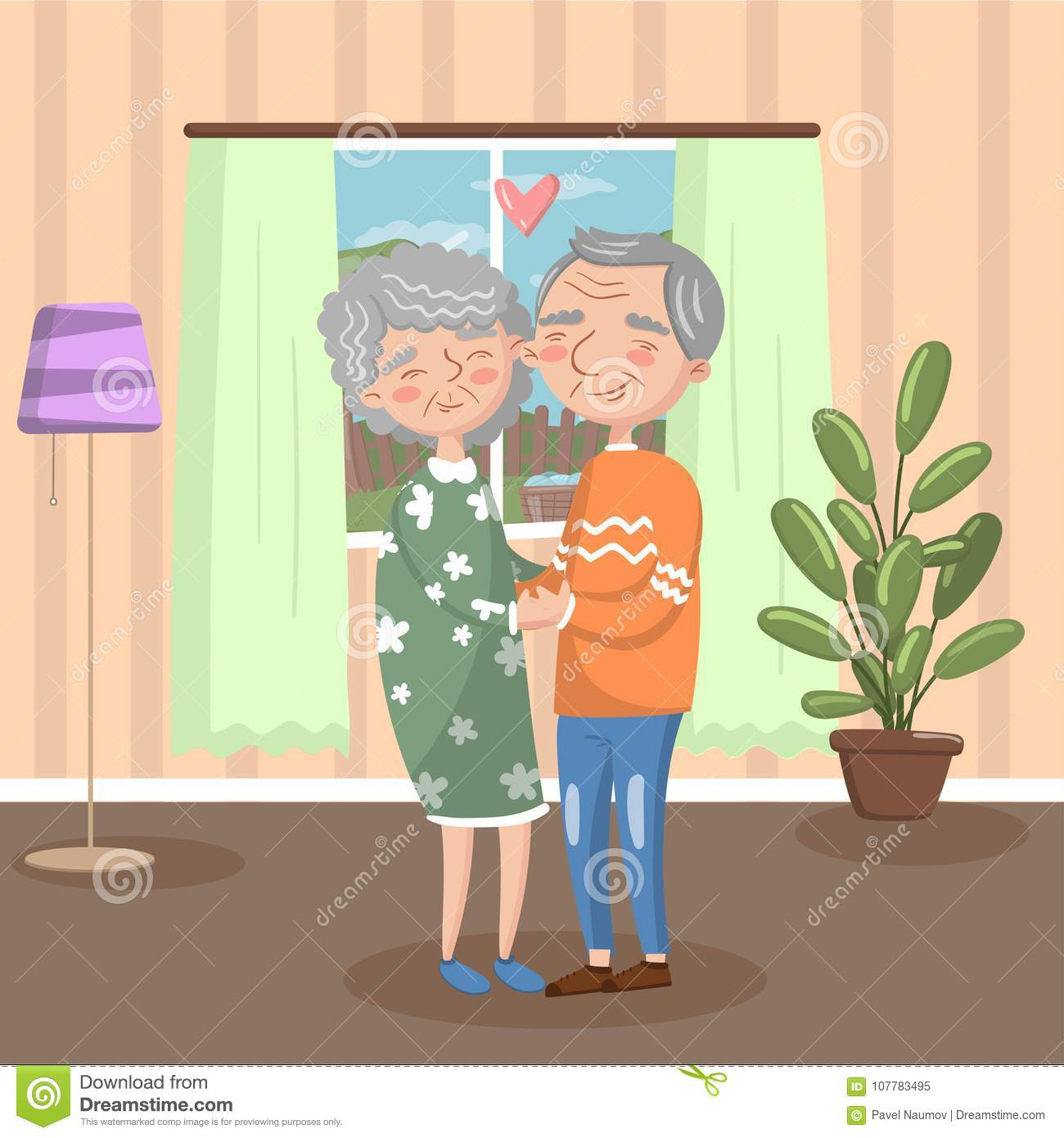 Love Each Other Cartoon: Happy Senior Couple In Love Holding Each Other Hands At