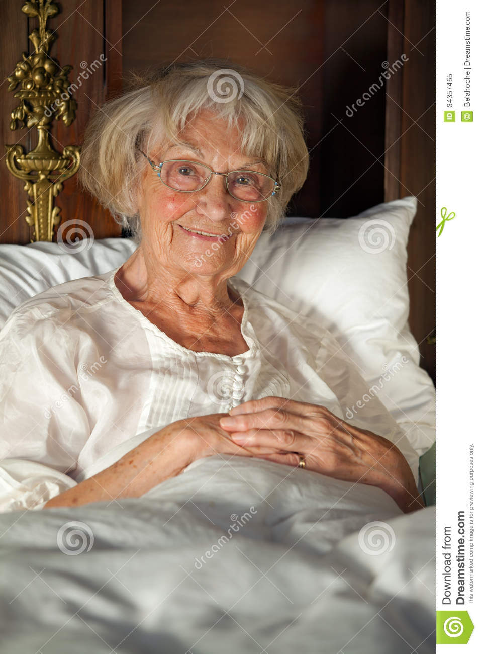 Happy Senior Lady Relaxing In Bed Stock Image Image Of