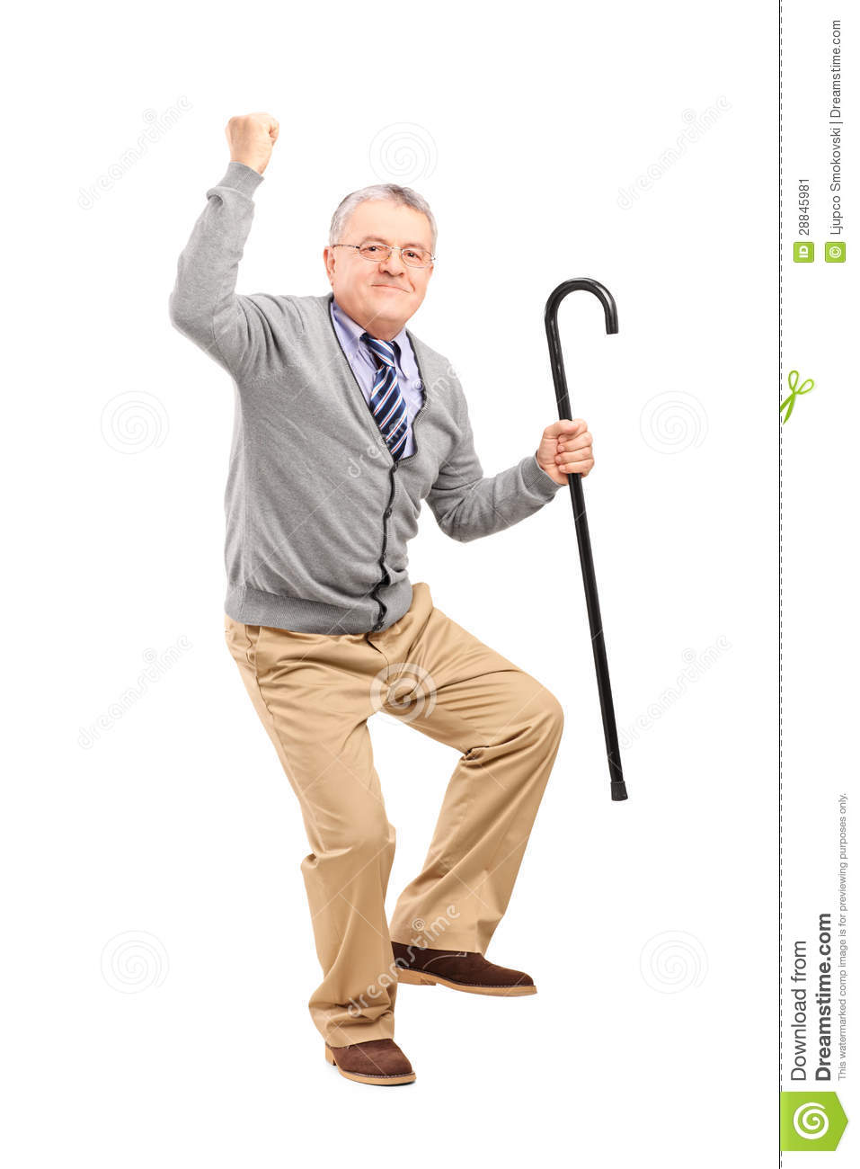 Happy Senior Man Holding A Cane And Gesturing Happiness ...