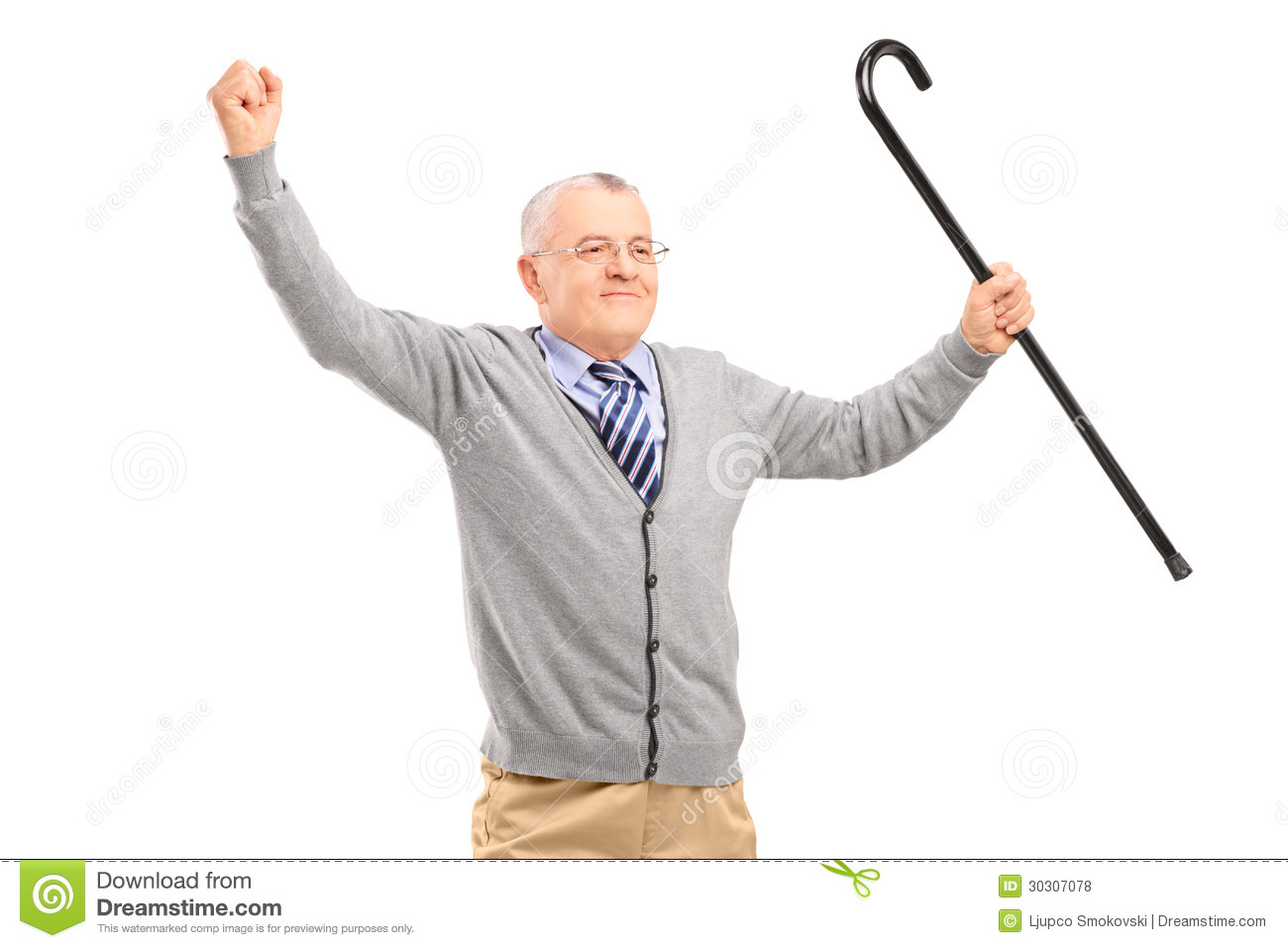 A Happy Senior Man Holding A Cane And Gesturing Happiness ...