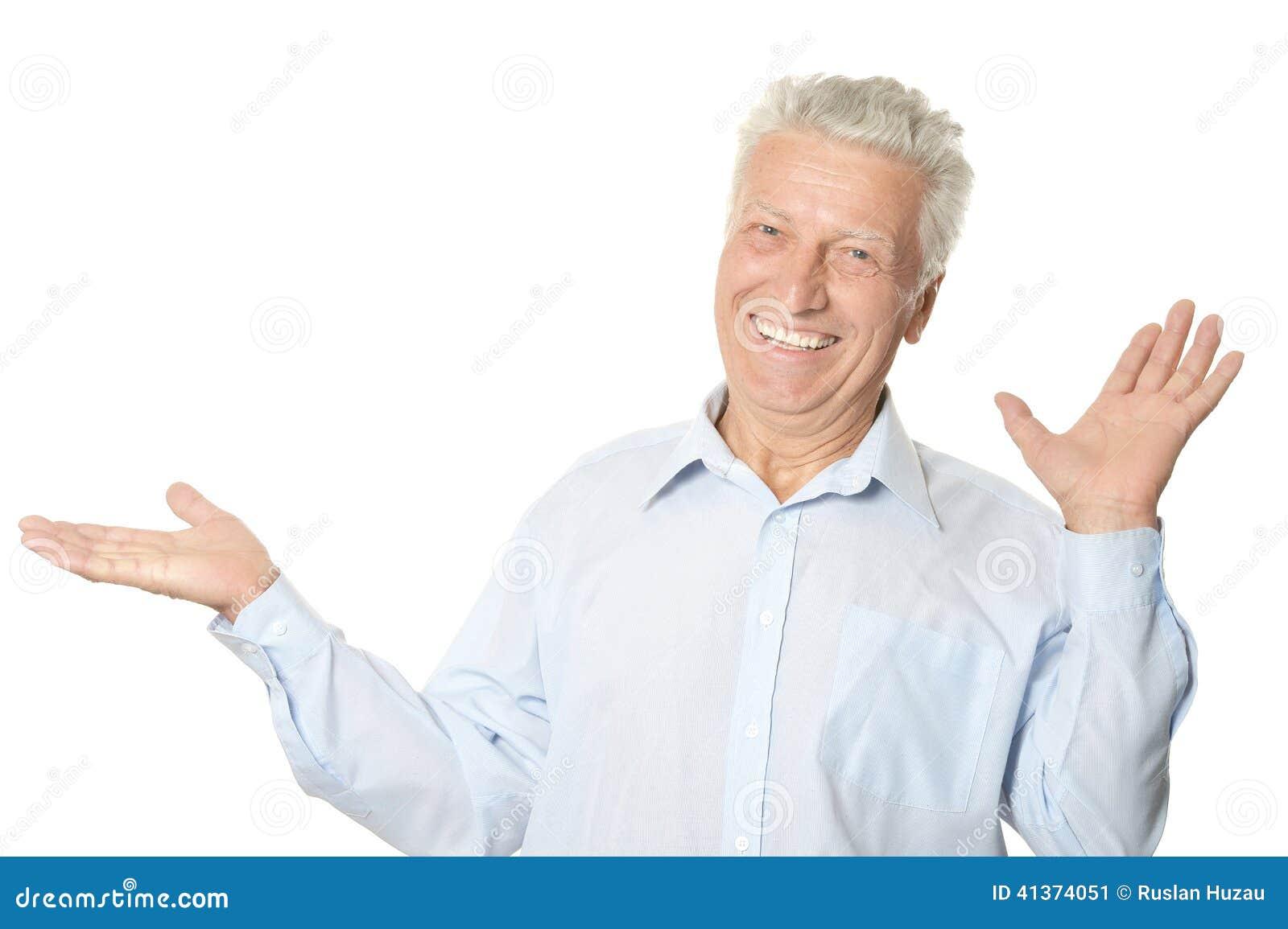 happy-senior-man-holding-something-isola