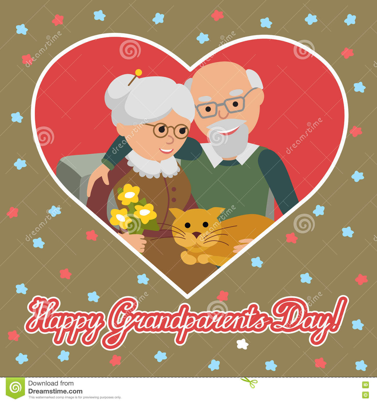 Happy senior man woman family with cat greeting card for happy senior man woman family with cat greeting card for grandparents day m4hsunfo