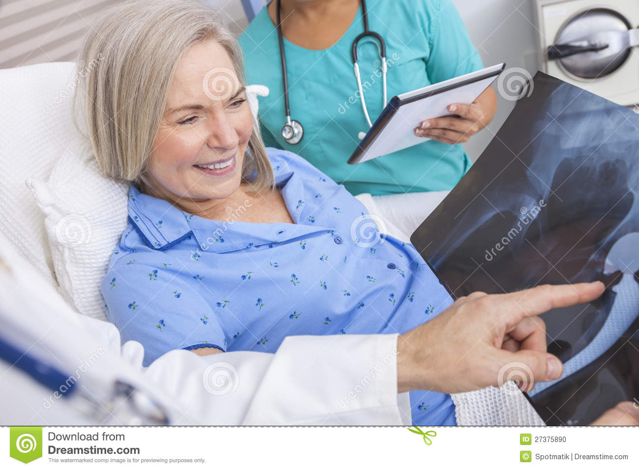 Happy Senior Woman Patient in Hospital Bed