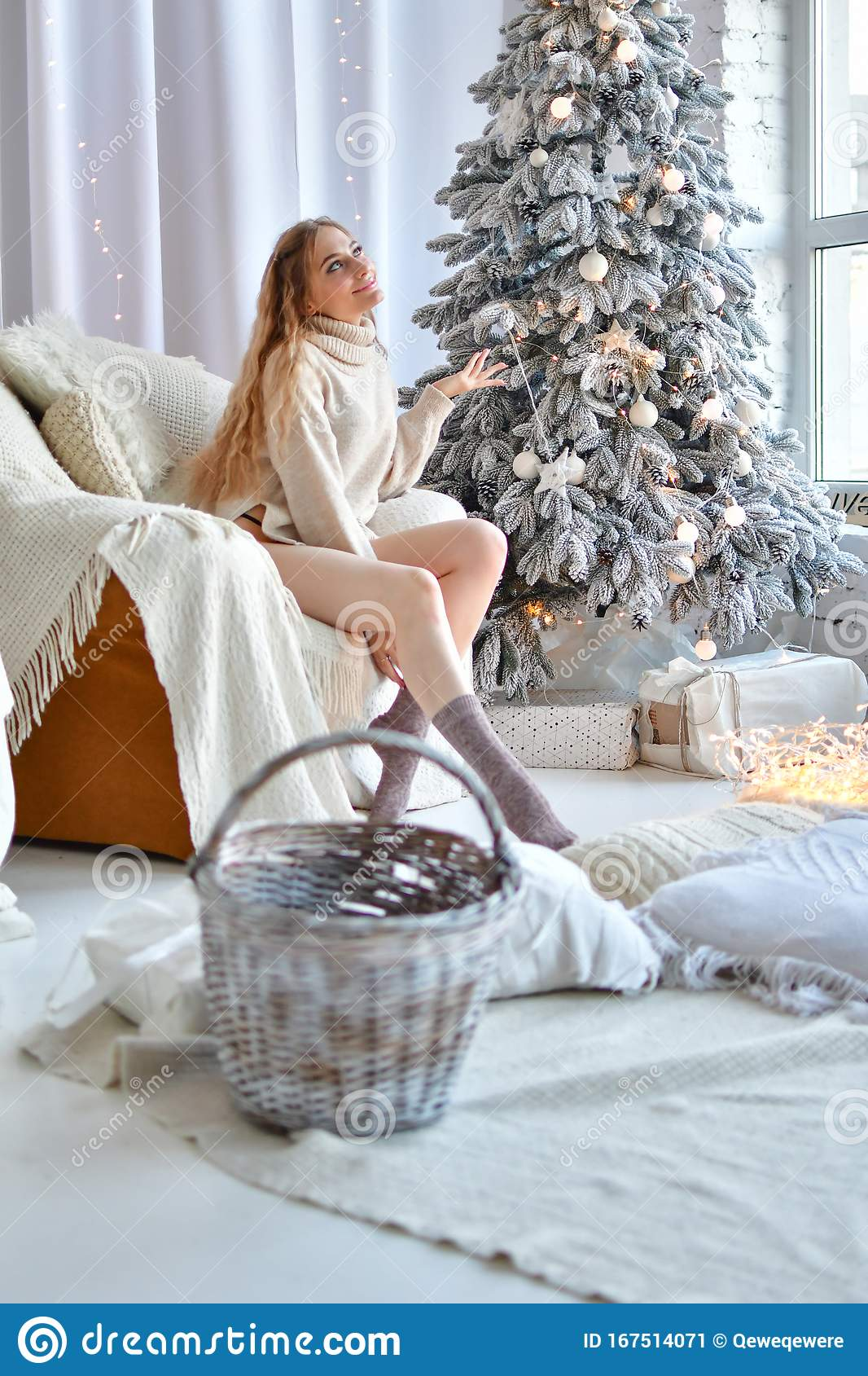 Merry christmas naked girl Happy Girl In Panties On Her Lap Sits On A Soft Chair Next Christmas Tree And Window Stock Image Image Of Interior Merry 167514071