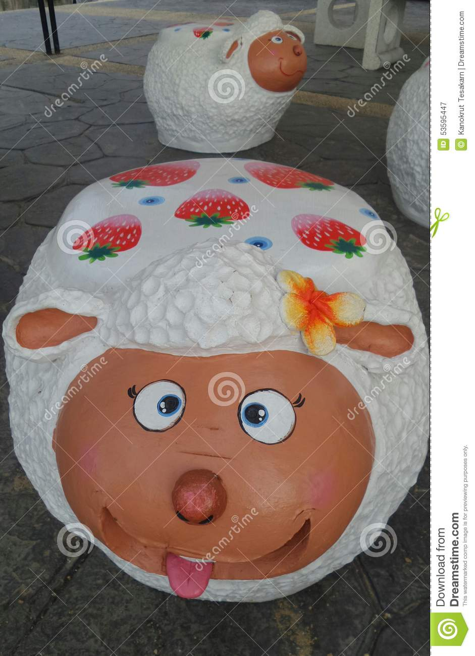 Marvelous Happy Sheep Garden Stool Stock Image Image Of Garden 53595447 Pabps2019 Chair Design Images Pabps2019Com