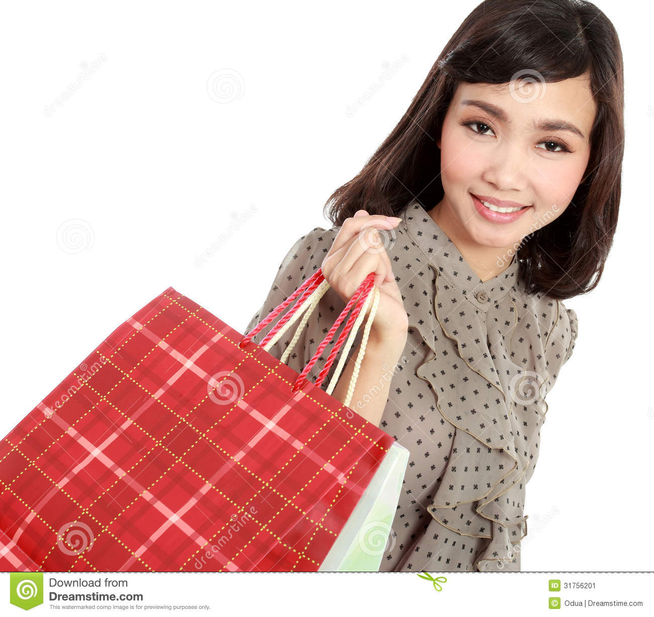 happy shopping girl holding bag stock image   image 31756201