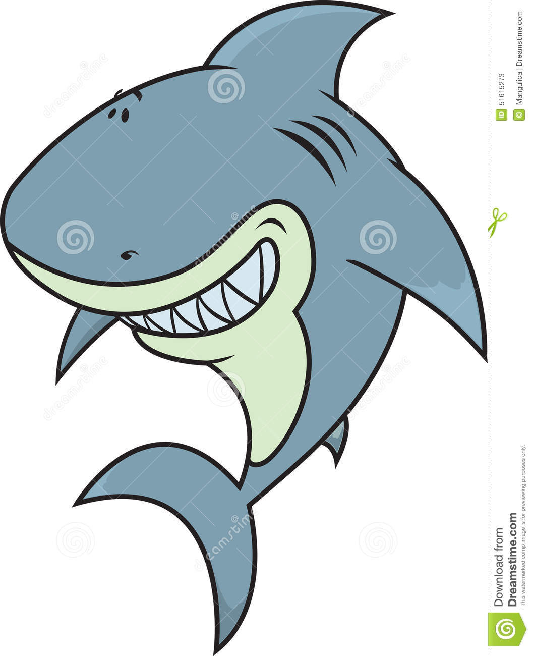 happy silly looking great white shark stock vector image 51615273