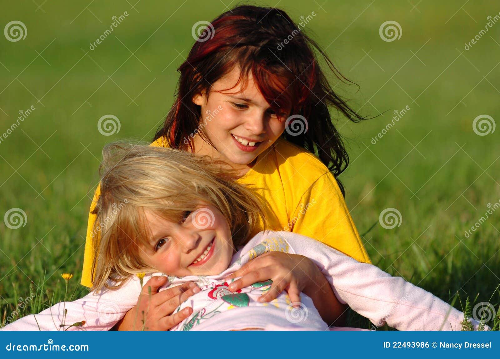 Happy sisters having fun