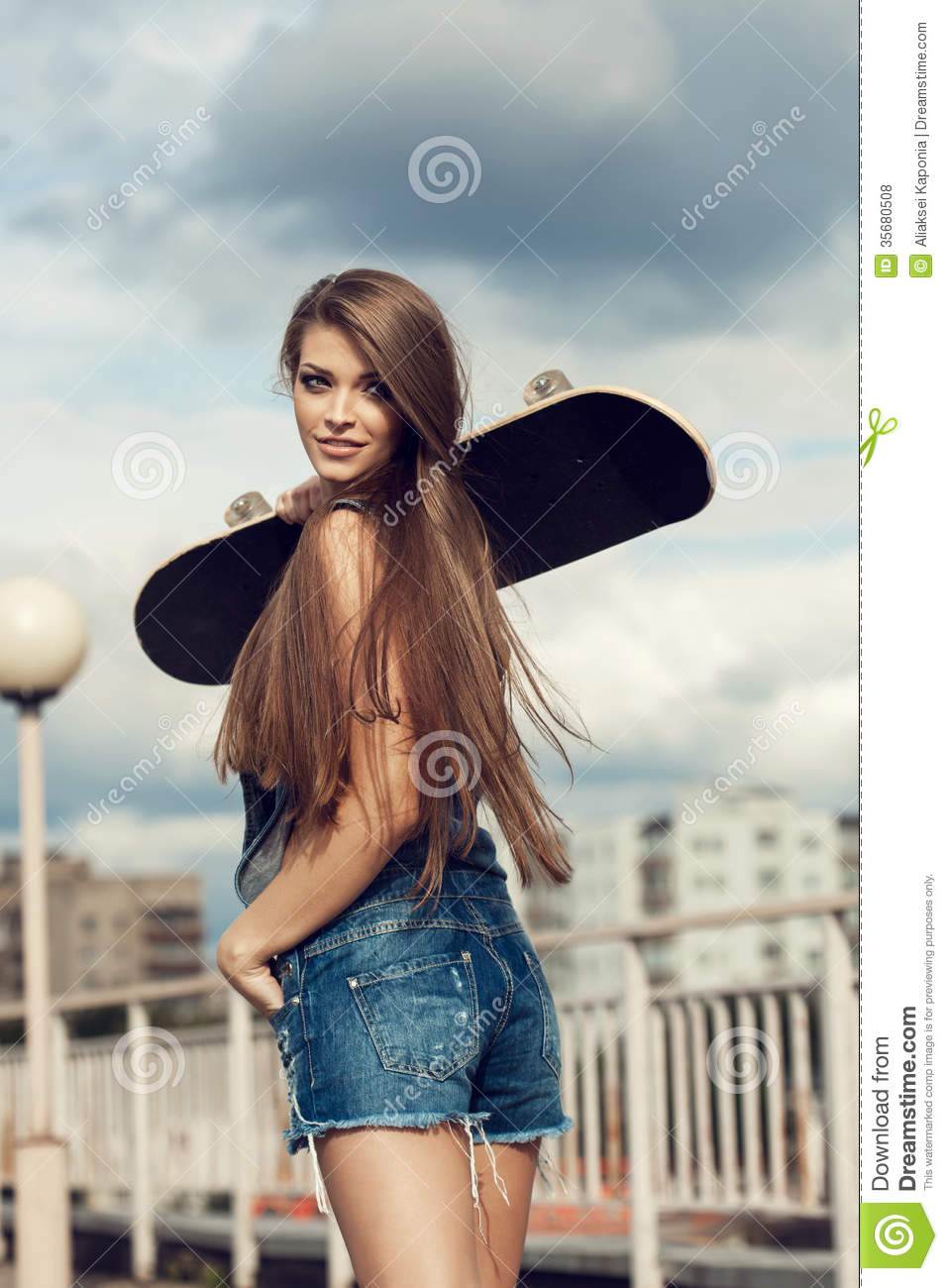happy skater girl stock photo image of leisure people