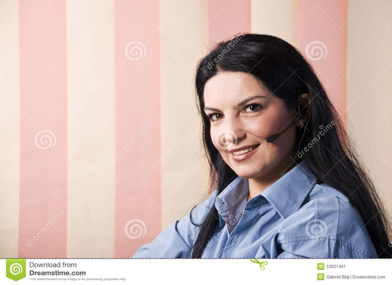 Happy Smile Customer Service Rep Stock Image