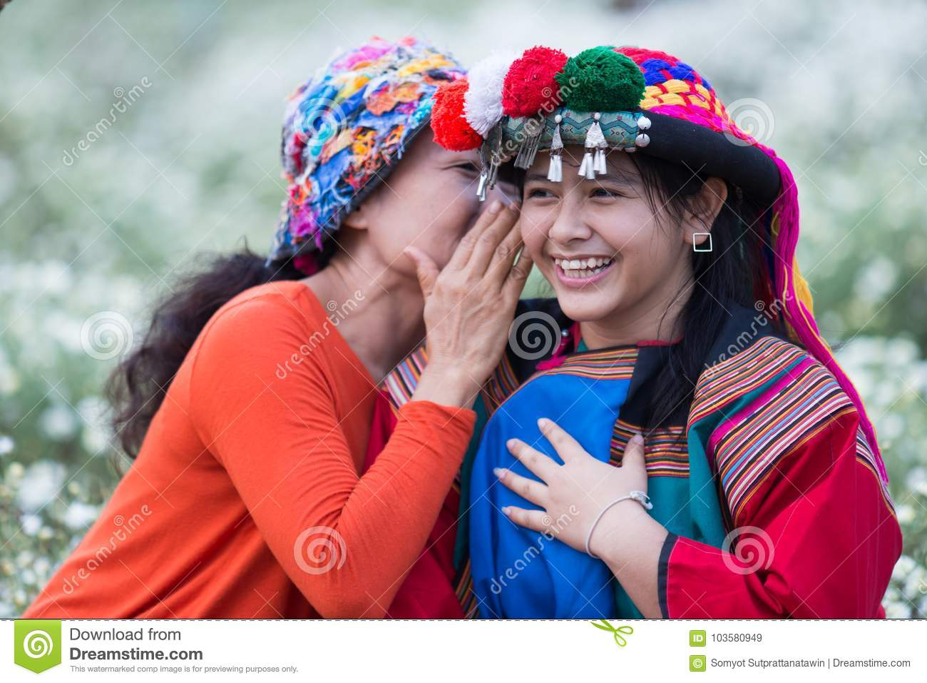 Happy smile hill tribe whispering good news